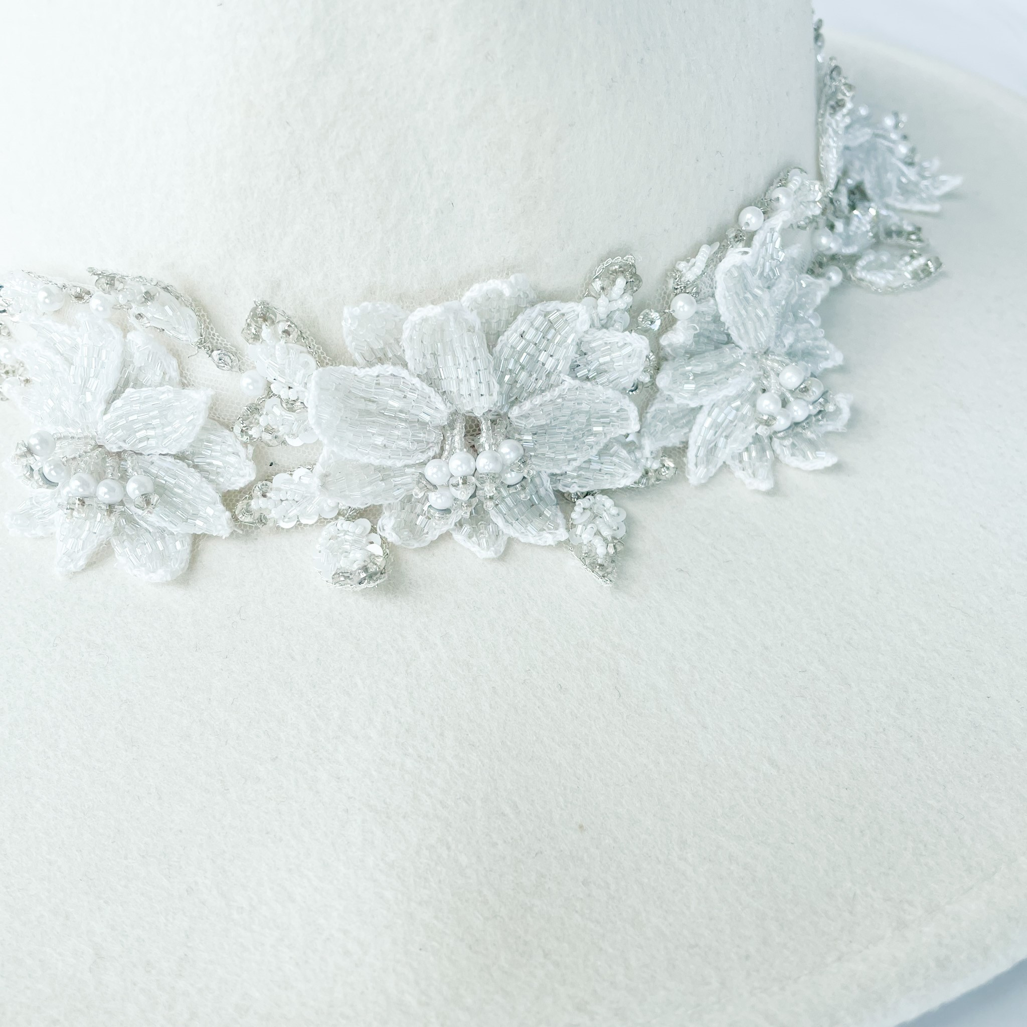 Kelly bridal wide brim wool hat with beaded hatband