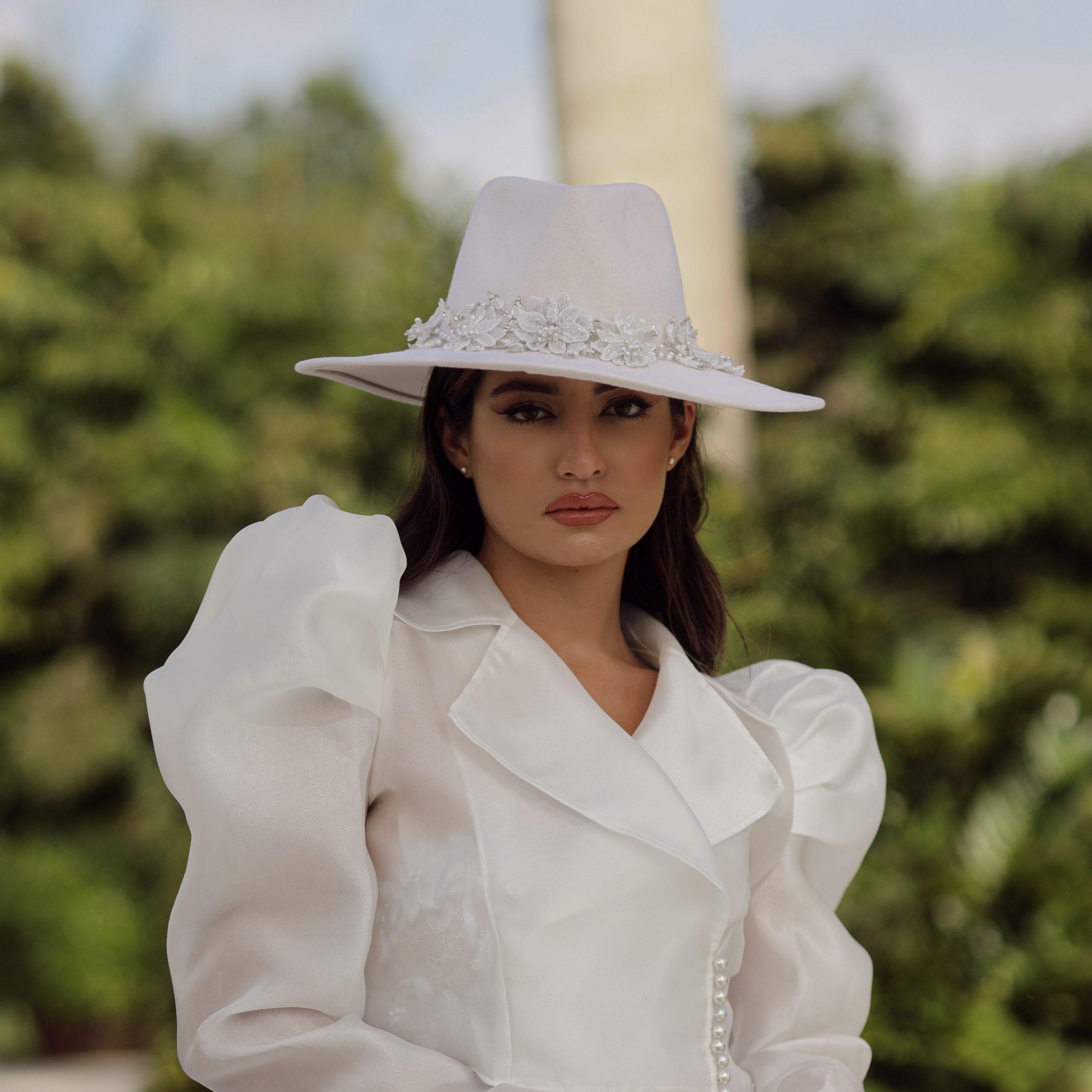 Kelly bridal wide brim wool hat with beaded hatband