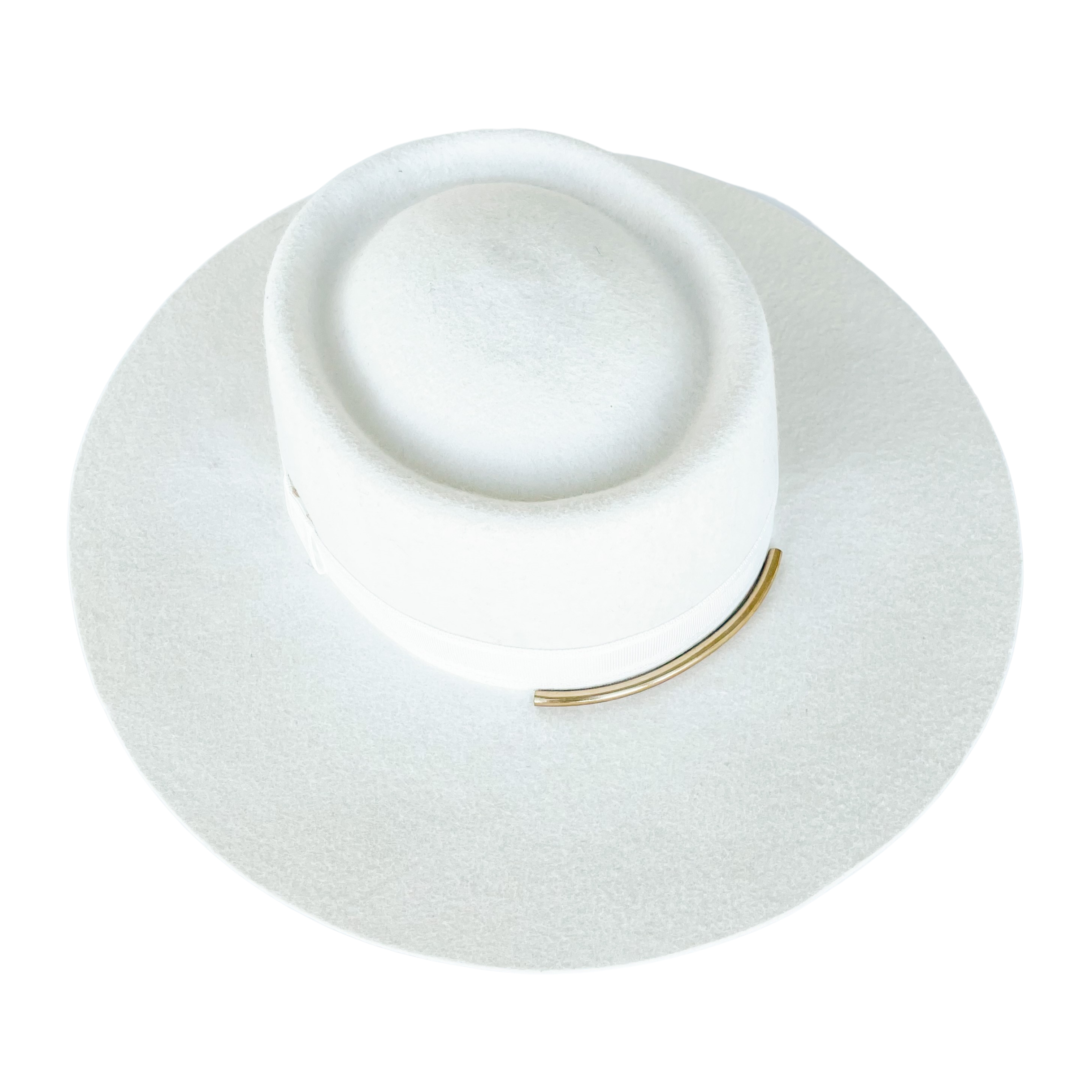 Lauren bridal gambler 100% wool hat with gold accent