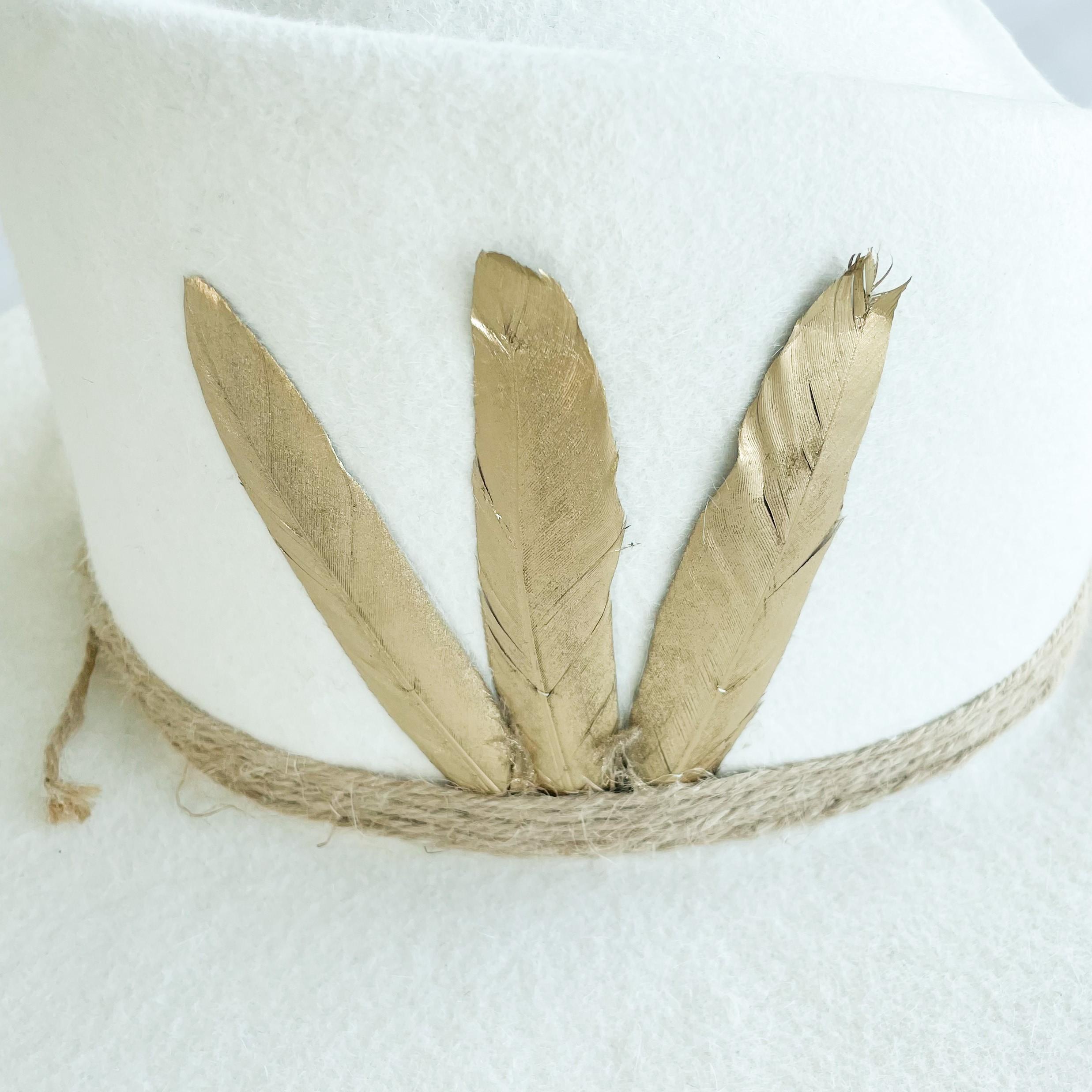 Monique bridal 100% felt hat with gold feathers