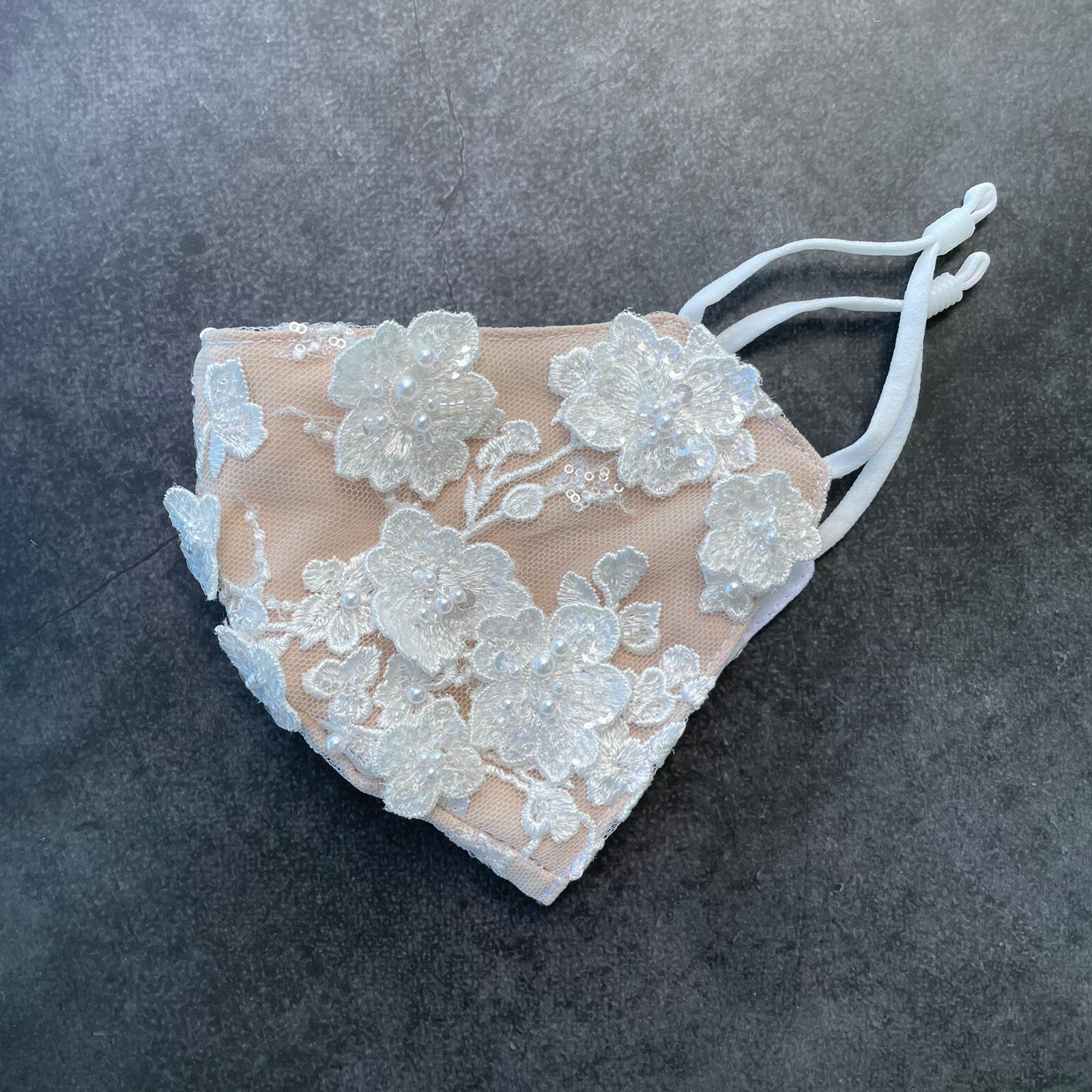 Gabrielle 3D flowers bridal mask